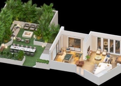 Artist Rendering of 'A'ali'i at Ward Village Event Room Bird's Eye View