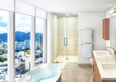 Artist Rendering of Azure Ala Moana Master Bath with Views