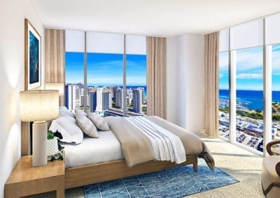 Artist Rendering of Azure Ala Moana Master Bedroom with Views