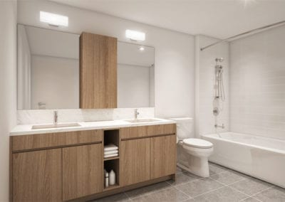 Example Bathroom at SamKoo Pacific, LLC's The Central Ala Moana mixed-use condominium in Honolulu