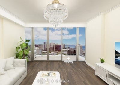 Artist's rendering of Hawaii City Plaza Residence Living Area