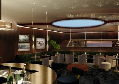 Artist's rendering of Residences at Mandarin Oriental Honolulu's speakeasy-inspired bar and dining space