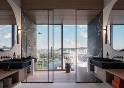 Artist's rendering of The Residences at Mandarin Oriental Honolulu Master Bathroom
