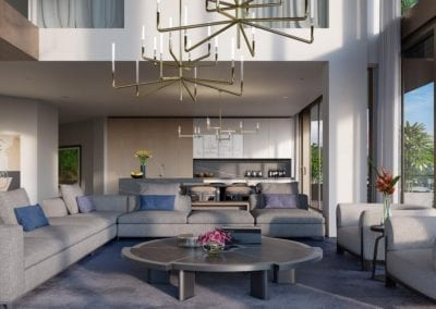 Artist's rendering of The Residences at Mandarin Oriental Honolulu Living Area