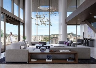 Artist's rendering of The Residences at Mandarin Oriental Honolulu Penthouse Living Area