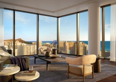 Artist's rendering of Residences at Mandarin Oriental Honolulu's view from residence