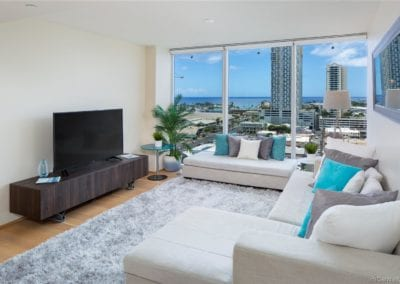 For Sale: Symphony Honolulu #1607, Living Room Area with View